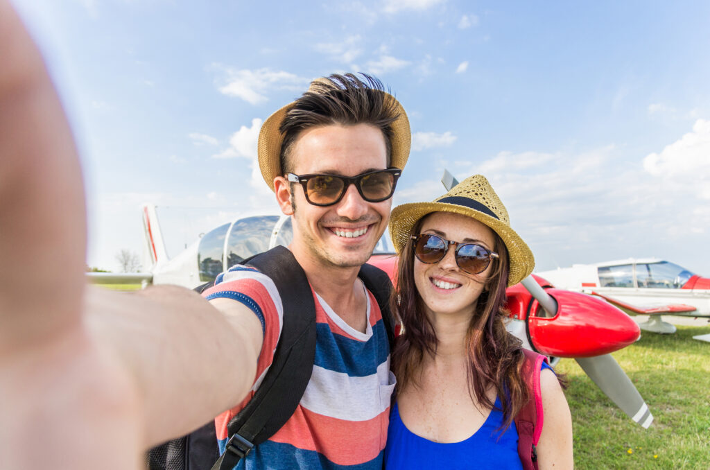 Para, wyjazd, piękna pogoda, selfie