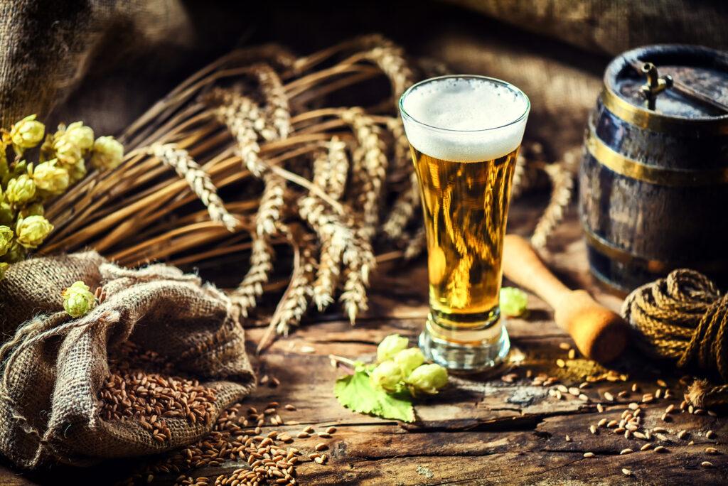Piwo, łany pszenicy, beczka, kufel, chmiel, słód