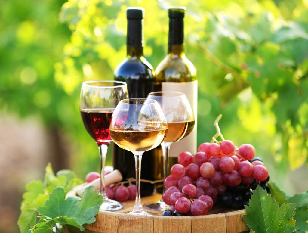 Dwie butelki wina, obok winogrona, stoją na beczce z winem. Zdjęcie zrobione w winnicy,